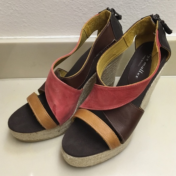 1ba8ac53a58 Bettye Muller Colorblock espadrille Wedges Size 41