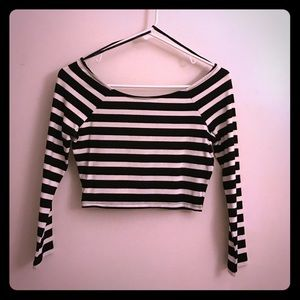 Classy black and white striped crop top