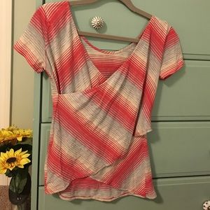 LAmade Tops - LaMade pink grey stripe T with wrap-back detail