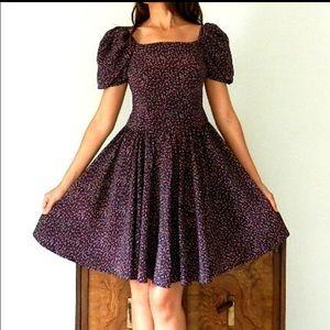 SOLD Vintage Princess Puff Sleeve Floral Dress