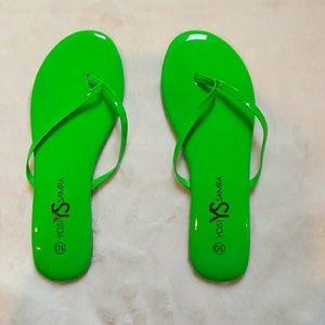 Yosi Samra Shoes - Yosi Samra Roee Neon Patent Leather Flip Flop