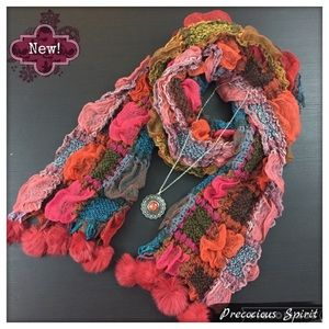 Knit multicolored block puff fur ball tassel scarf