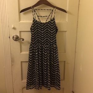 Black and White Strappy Chevron Dress