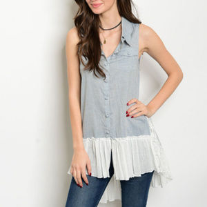 DUSTY BLUE TUNIC TOP