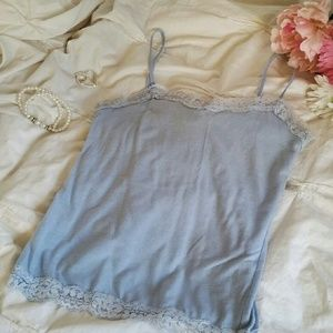 American Dream Tops - Light Blue Lacy Camisole