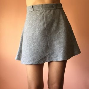 Vintage High Waist Gray Mini Skirt