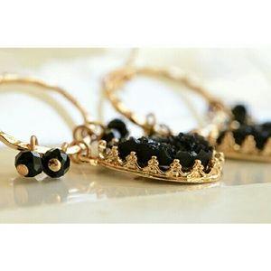 Designer Jewelry - LA Indy Designer Black Druzy Cabochon Earrings
