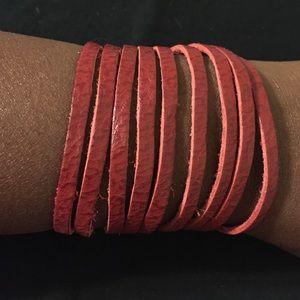 Jewelry - NWT Red Leather Strap Cuff Bracelet