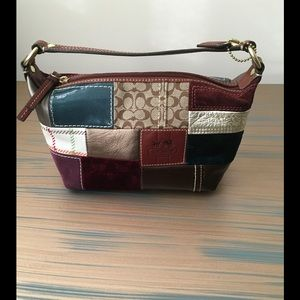 Coach Handbags - Coach holiday patchwork top handle pouch.