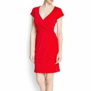 Mango red wrap dress