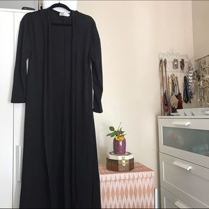 long + lightweight  black hooded duster cardigan