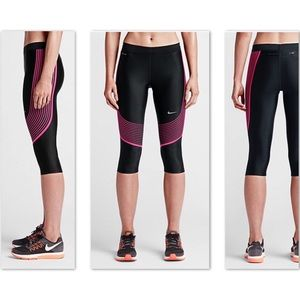 NWT Nike Power Speed Capris HyperPink Black
