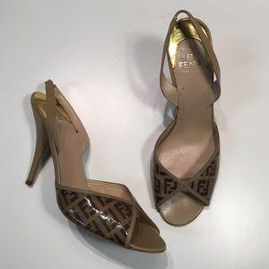 Fendi Shoes - Fendi peeptoe slingback heels