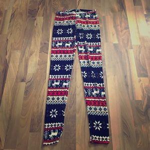 One Size Reindeer & Snowflake Fleece Leggings