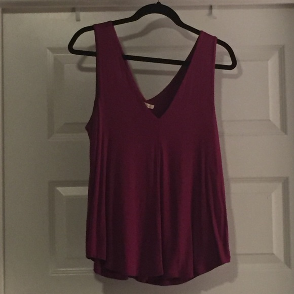 f865f14b6f Anthropologie Tops - Anthropologie Bordeaux Double V Swing Tank