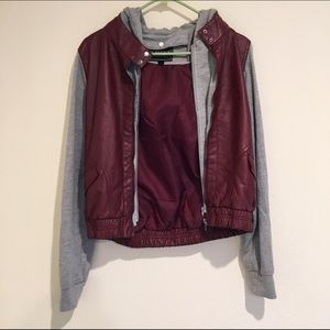 Maroon and Grey Faux Leather Jacket Size L