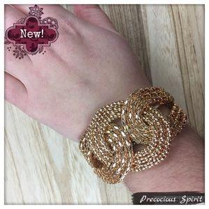 Cute sparkle Gold tone knot bracelet cuff