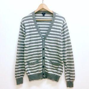 J Crew cotton cashmere striped cardigan sweater