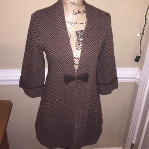 Soft surroundings brown chevron cardigan