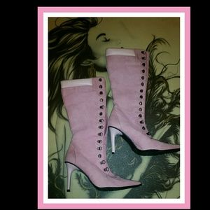 Bumper Shoes - 🦄Pink Suede Victorian Knee High Pointy Boots🦄