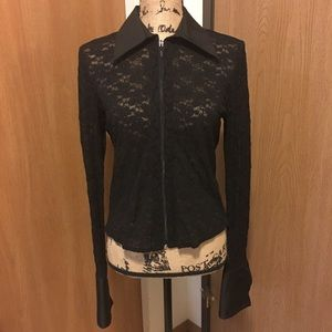 CAbi Stretch Floral Lace Zip Up Top Blouse