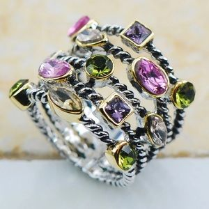 Boutique Jewelry - ✨Multi Colored Crystal Silver Plated Stacked Ring✨
