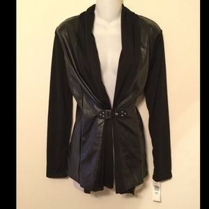 annalee + hope Jackets & Blazers - NWT black faux leather buckle light weight jacket