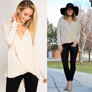 "Lover's Leap Boutique Tops - ""The Icon"" Surplice Top with Choker Detail - Cream"