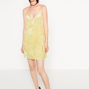 Zara Dresses & Skirts - Yellow velvet dress