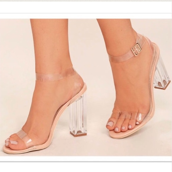 Clear Barely There Strappy Sandal Heels