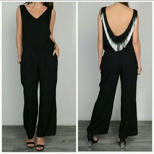 Pants - 🆕 Classic black jumpsuit with sassy fringe detail