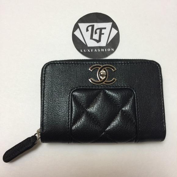 00098419fbec CHANEL Accessories | Mademoiselle Zip Around Card Holder Black ...