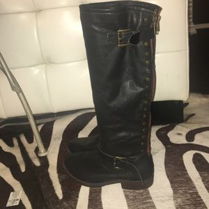 Small Heeled Bamboo Knee Boots