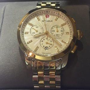 Michele Accessories - Michele diamond watch two tones gold