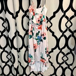 High Low Cross Strapped Floral Print Dress