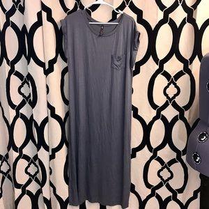 Long Grey Maxi T-Shirt Dress