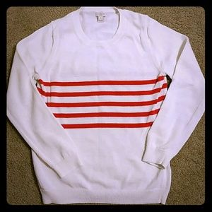 J. Crew Factory Sweaters - Jcrew white sweater with red stripes