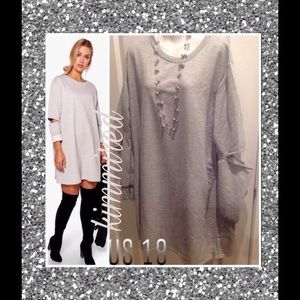 Boohoo Plus Dresses & Skirts - 🆕 Plus Gray Cut Out Sleeve Sweat Dress ~ US 18 🆕