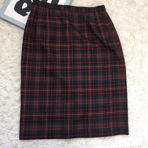 c1ddfa38f0 Pendleton Skirts | Preppy Tartan Plaid Wool Pencil Skirt | Poshmark