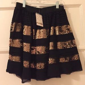 FREE PEOPLE - Black and gold sequin stripes skirt