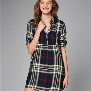 A&F XS navy plaid shirt dress