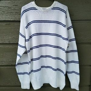 Vintage Oversized White and Blue Striped Sweater