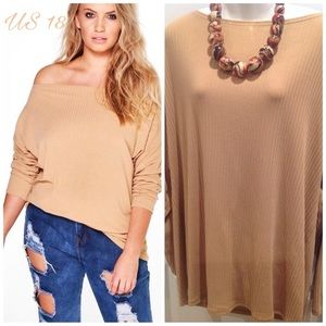 Boohoo Plus Tops - 🆕Plus Tan Off Shoulder Knitted Shirt/Top ~ US 18