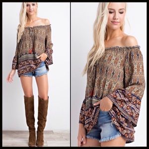 boutique Tops - BOHO BELL SLEEVE COLORFUL TOP