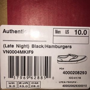 Vans Shoes - Cheeseburger Lowtop Vans BNIB