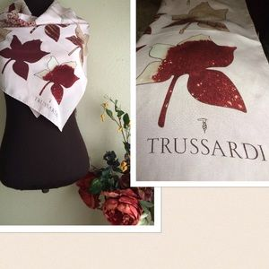 Trussardi Accessories - Trussardi Large Silk Scarf Fall Leaves