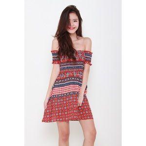 LF Dresses & Skirts - Lauren Smocked Red Dress