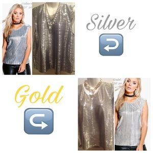 Boohoo Plus Tops - 🆕Plus Silver/Gold Metallic Shell Top ~ US 20 🆕