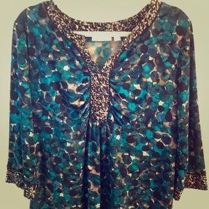 Susan Graver Tops - Susan Graver XL Tunic teal, browns Liquid knit EUC