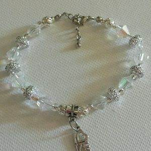 Silver and Crystal LOVE Bracelet